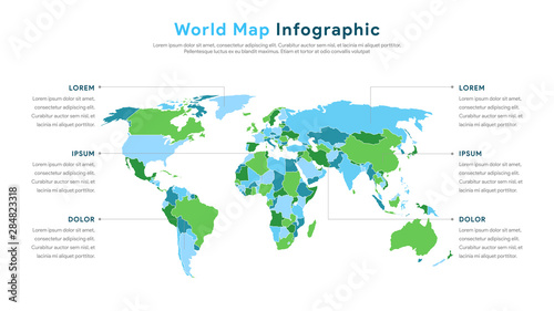 World Map Infographics Vector for Presentation and Slide Show. WIth Simple and Modern Style. Vector EPS 10