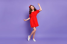 Full Body Photo Of Pretty Lady Earning Dancing Queen Status Wear Off-shoulders Dress Isolated Purple Background
