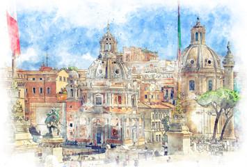 FototapetaDigital illustration in watercolor style of Trajan's Column and Santa Maria di Loreto, view from Altar of the Fatherland, Rome, Italy