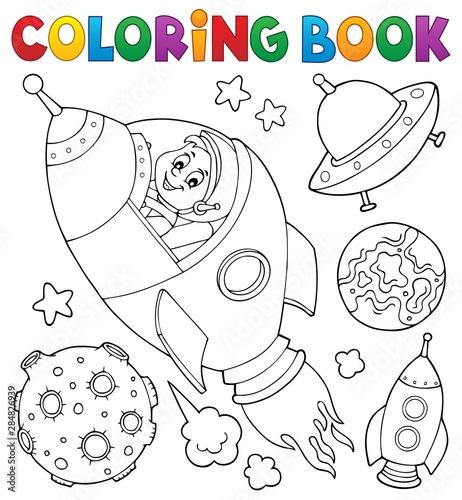 Fotobehang Voor kinderen Coloring book space topic collection 1