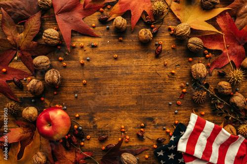 Fotografie, Obraz  Autumn season arrangement top view with copy space
