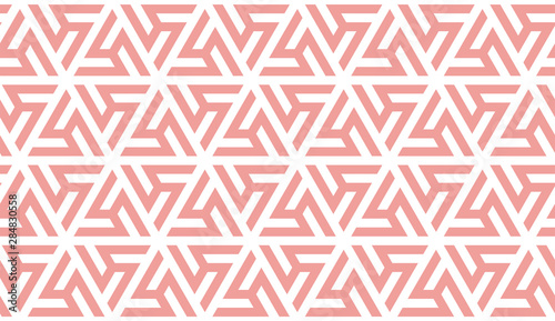 Fototapeten Künstlich Coral color seamless geometric pattern. Color of the 2019 year. Vector repeating texture for fabric design, cloth, textile.