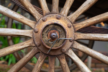 Old Wagon Wheel Closeup