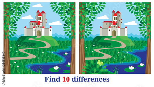two bright pictures with a lot of details on which to find ten differences. puzzle for kids.  		job to care for children 3-5 years. vector illustration. EPS 10.