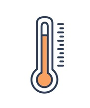 Mercury-in-glass Or Mercury Thermometer Isolated On White Background. Measurement Tool, Meteorological Equipment For Temperature Measuring. Colorful Vector Illustration In Modern Line Art Style.