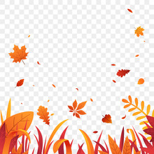 Autumn Grass Border With Falling Leaves Vector Background. Red Orange Autumn Plants. Fall Decoration For Your Design. Flat Style.