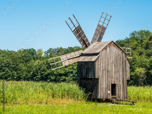 Old Wooden Grain Windmill ( Gristmill ) Landscape Wallpaper Mural
