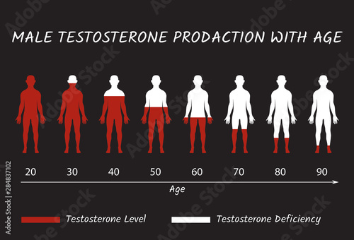 Male Testosterone Prodaction with Age. Canvas Print