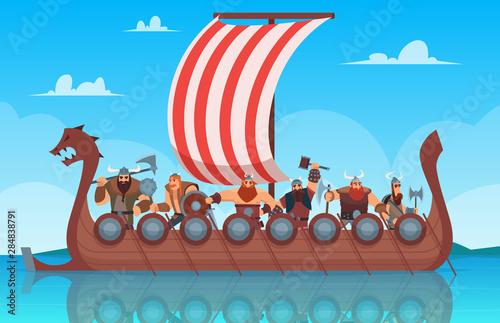 Vikings battle ship Canvas Print