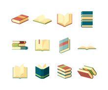 Books Flat. Library Symbols Learning Studying Information Handbook Covers Magazines Vector Collection. Illustration Textbook And Dictionary, Book Literature Isometric