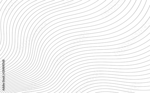 Abstract wavy background. Thin line on white.