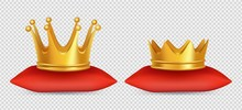 Realistic Gold Crowns. Vector King And Queen Crowns On Red Pillow Isolated On Transparent Background. Illustration Of Gold Crown 3d, Kingdom Royal, Emperor Coronation