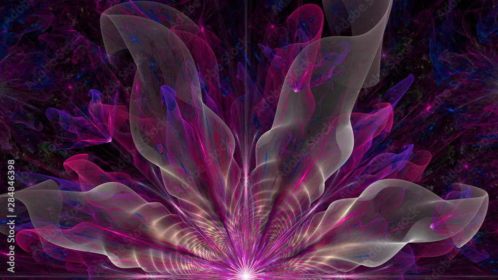 Abstract fractal background with large star like space flower with intricate decorative geometric pattern and intricate petals, all in glowing pink,purple,blue