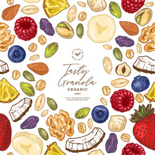 Granola Frame Template. Engraved Style Illustration. Various Berries, Fruits And Nuts. Vector Illustration