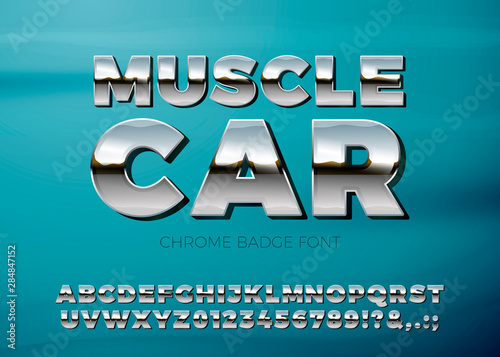 Vector realistic chrome car font, on a bright blue car background Canvas Print