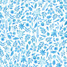 Seamless Watercolor Pattern Of Simple Silhouettes Of Blue Flowers.