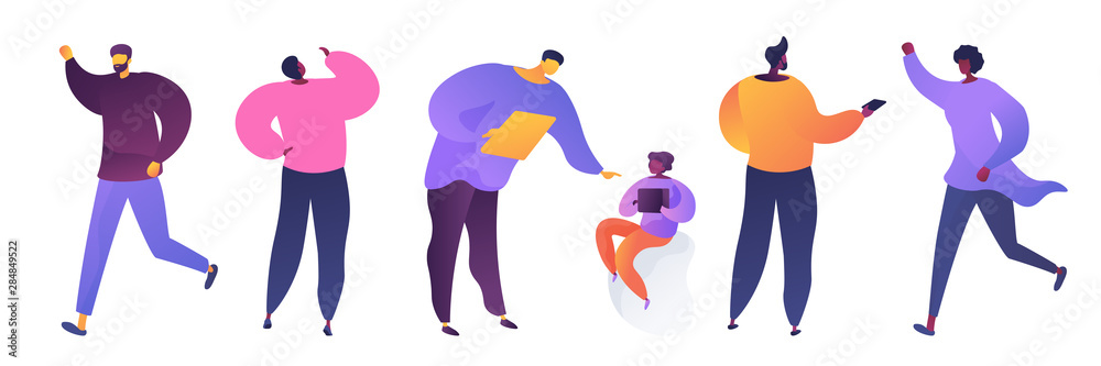 People in various poses flat vector illustrations set. Young men and woman in casual clothes cartoon characters. Father and son, teacher and student. Guy holding phone, woman waving hand