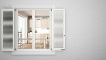 Exterior Plaster Wall With White Window With Shutters, Showing Interior Modern Kitchen, Blank Background With Copy Space, Architecture Design Concept Idea, Mockup Template