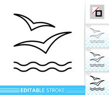 Wave Seagull Sea Bird Simple Thin Line Vector Icon