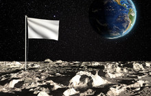 The Surface Of The Moon With A Blank State Flag And The Planet Earth On A Background Of The Starry Sky. Creative Conceptual Illustration. 3D Rendering With Copy Space.