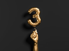 Three Year Birthday. Golden Hand Holding Number 3 Foil Balloon. Tree-year Anniversary Background. 3d Rendering