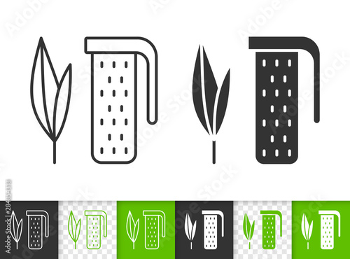 Tea Infuser leaf plant black line vector icon Tapéta, Fotótapéta