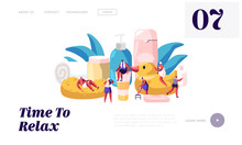 People In Bathroom Website Landing Page. Tiny Male And Female Characters Washing And Taking Bath Among Huge Cosmetics Bottles Soap Shampoo Rubber Duck Web Page Banner. Cartoon Flat Vector Illustration