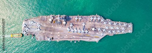Top View Aircraft Carrier warship battleship In the ocean Navy Fotobehang