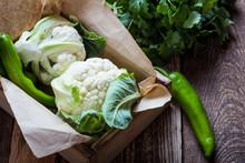 Fresh Organic Cauliflower, Pla...