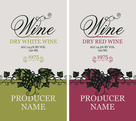 Vector set of two labels for red and white wine with bunches of grapes and calligraphic inscriptions in retro style