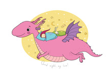 Cute Cartoon Gnome Is Flying On A Dragon. Elf And Dinosaur -