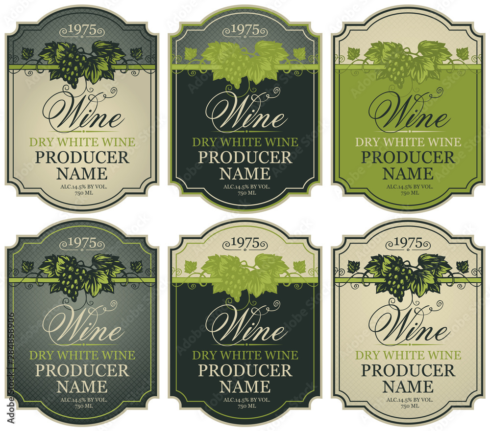 Fototapeta Vector set of labels for white wine with bunches of grapes and calligraphic inscriptions in retro style in figured frames