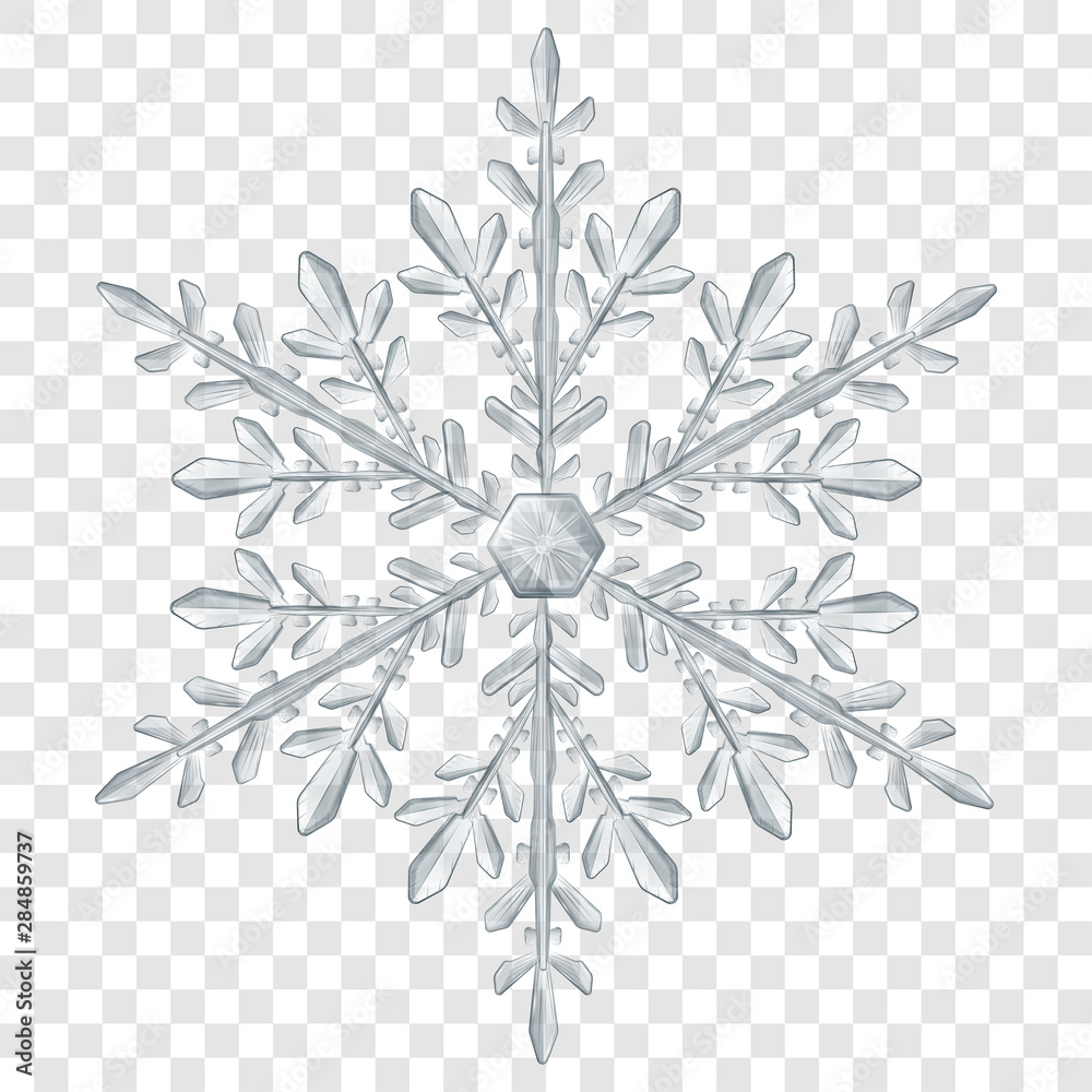 Fototapeta Big complex translucent Christmas snowflake in gray colors for use on light background. Transparency only in vector format