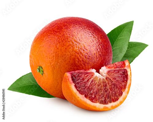 Canvastavla red blood orange slice, isolated on white background, clipping path, full depth