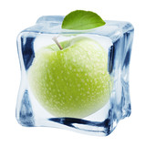 apple in ice cube, isolated on white background, clipping path, full depth of field