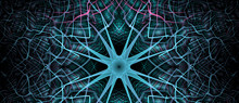 Abstract Fractal Background Made Out Of   An Intricate Large Central Star With Decorative Beams, Arches, Rings And Rectangular Tiles In Vivid Colors.