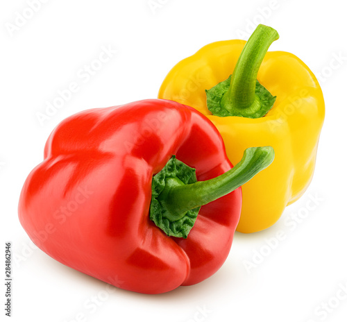 Fotomural sweet pepper, red, yellow paprika, isolated on white background, clipping path,