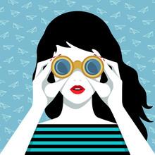 Vector Portrait Of Woman Looking Through Binoculars