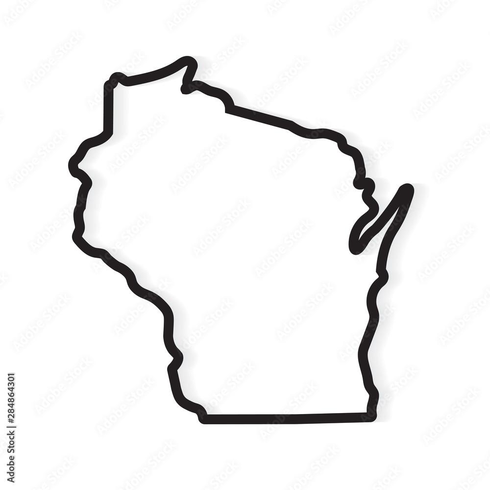 Fototapety, obrazy: black outline Wisconsin map- vector illustration