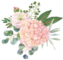Roses And Eucalyptus Bouquet