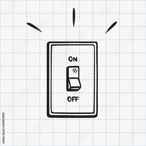 Papel de parede Light switch doodle icon. Hand drawn sketch in vector