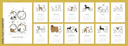 Cuadros en Lienzo Monthly Creative Calendar 2020 with dog breeds for dog breeders and dog lovers