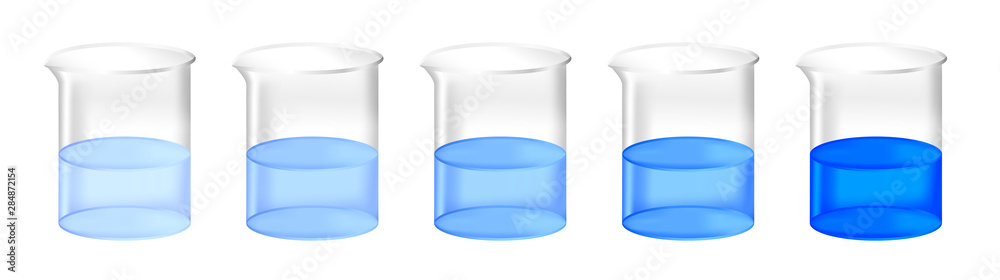 Fototapeta Vector set of chemical beakers with different concentration of blue substance solution. Color gradient from light to dark.  Full laboratory glassware with calibration standard preparation isolated.