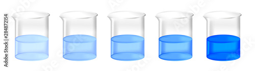 Vector set of chemical beakers with different concentration of blue substance solution Canvas Print