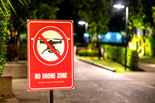 Drone In Sky Sign At Hotel In Thailand Not Allowed Or Permitted Air Zone