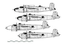 North American B-25 Mitchell. Outline Vector Drawing