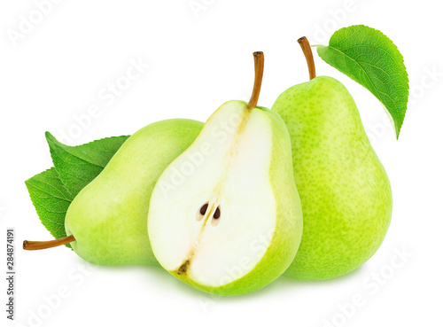 Fotografía  Composition with Green Pears Isolated on White Background