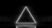 Triangular Neon Glowing Light ...