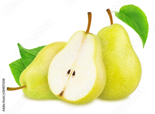 Pinturas sobre lienzo  Composition with Yellow Pears Isolated on White Background