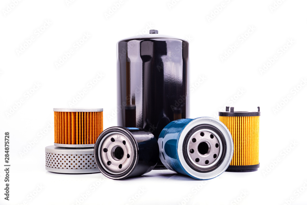 Fototapeta Auto parts accessories : Top view of  Oil , fuel or air filter for engine car  isolated on white background.